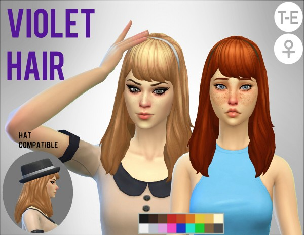 Simduction: Violet hair for Sims 4