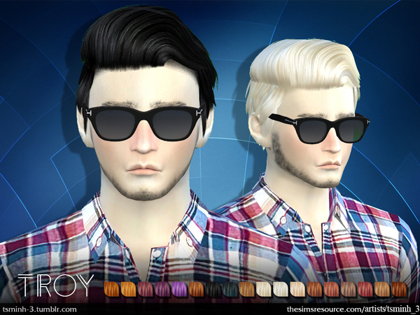 The Sims Resource: Troy hair 6 by tsminh 3 for Sims 4