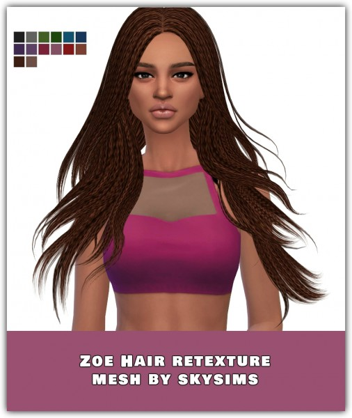 Simsworkshop: Zoe Hair Retextured by maimouth for Sims 4