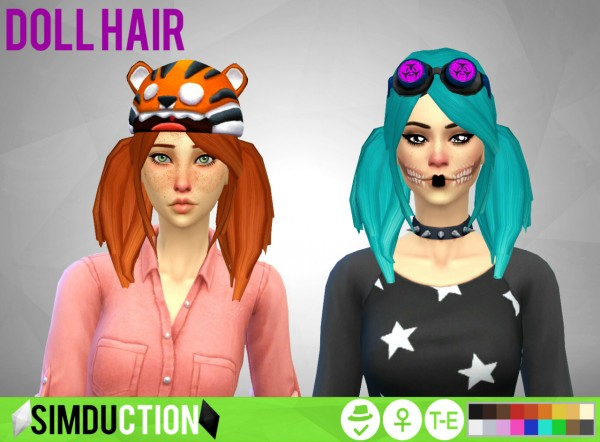 Simduction: Doll hair for Sims 4