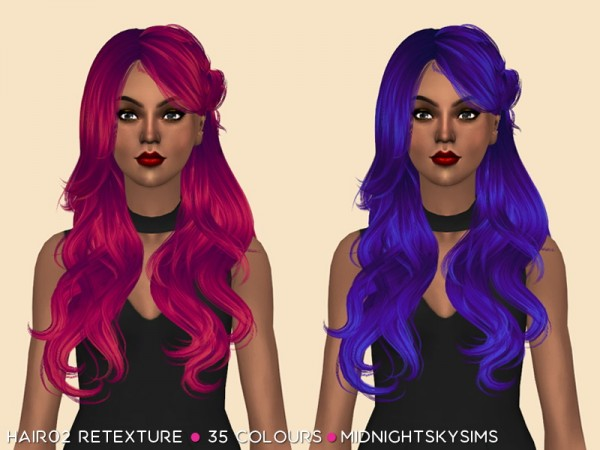 Simsworkshop: Wings Hair 02 Unnatural hair retextured by midnightskysims for Sims 4