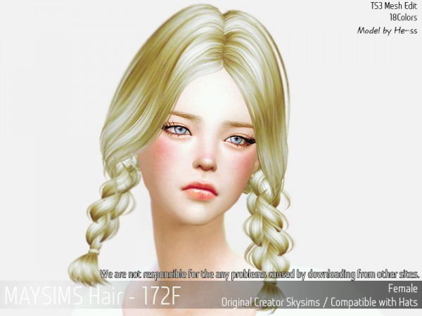 MAY Sims: May Hair 172F for Sims 4