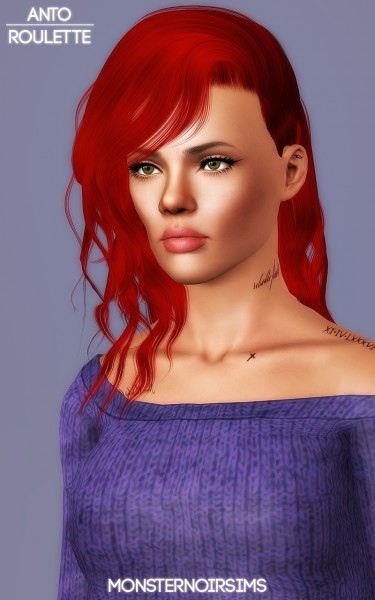 Joseph Sims: Anto`s Roulette hair retextured for Sims 4