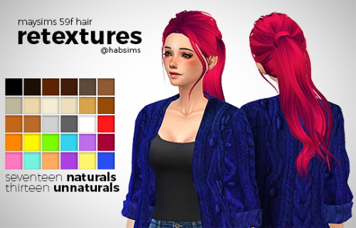 Hab Sims: May 59F hair retextured for Sims 4