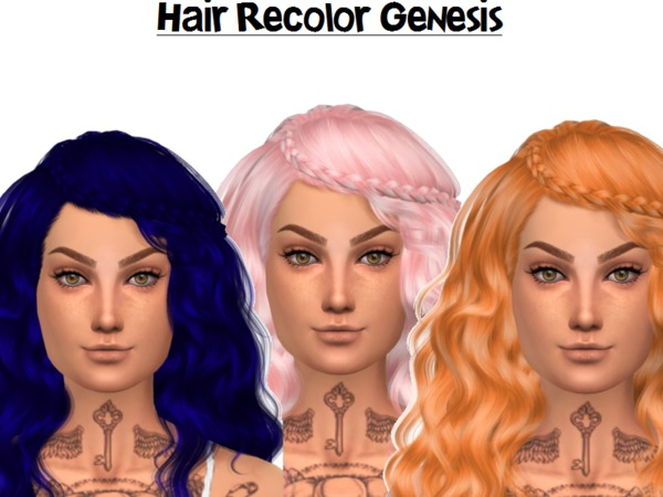 The Sims Resource: Stealthic`s Genesis hair recolored by Naddiswelt for Sims 4