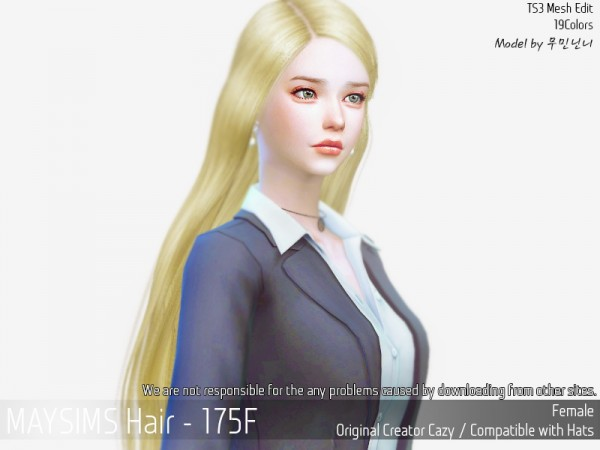 MAY Sims: MAY 175F hair retextured for Sims 4