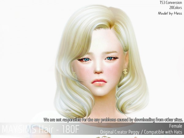 MAY Sims: Hair 180F retexturd by MAY for Sims 4