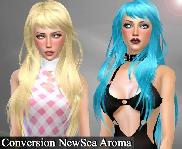Genius6613: Newsea`s Aroma hair retextured for Sims 4