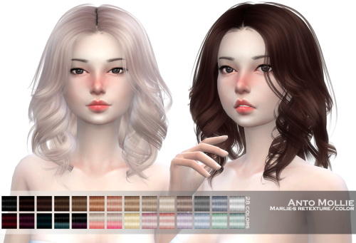 Marlie s: Anto`ss Mollie hair retextured for Sims 4