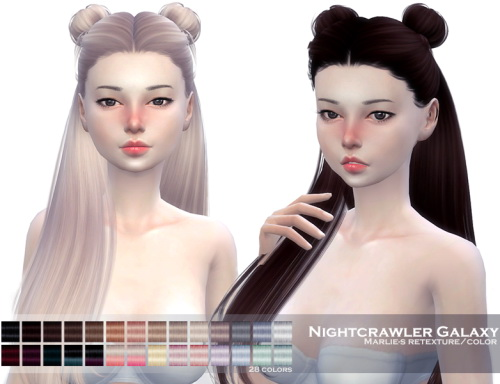 Marlie s: Nightcrawler`s Galaxy hair retextured for Sims 4