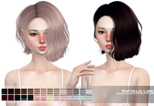 Marlie s: Sintiklia`s Lime hair retextured for Sims 4