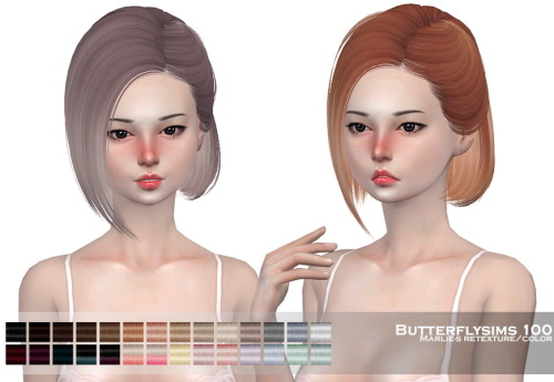 Marlie s: Butterfly`s 100 hair retextured for Sims 4