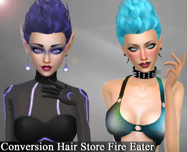 Genius6613: Store Fire Eater hair retextured for Sims 4