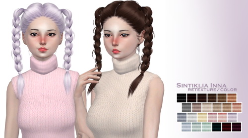 Marlie s: Sintiklia`s Inna hair retextured for Sims 4