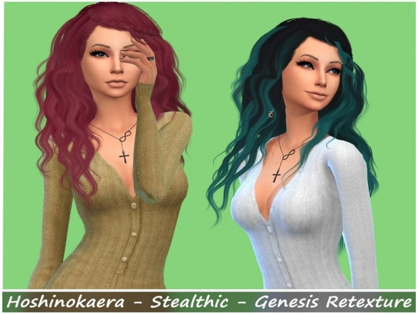 The Sims Resource: Stealthic`s Genesis hair retextured by Hoshinokaera for Sims 4