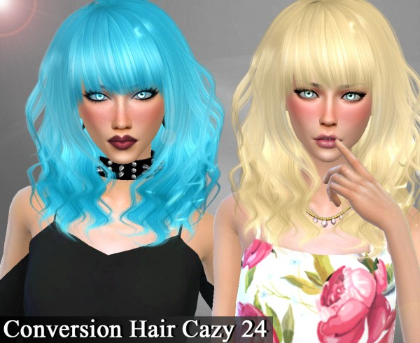 Genius6613: Cazy`s 24 hair retextured for Sims 4