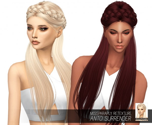 Miss Paraply: Anto`s Surrender hair retextured for Sims 4