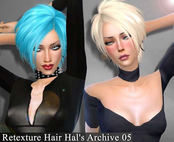 Genius6613: HAL'S ARCHIVE 05 hairs retextured for Sims 4