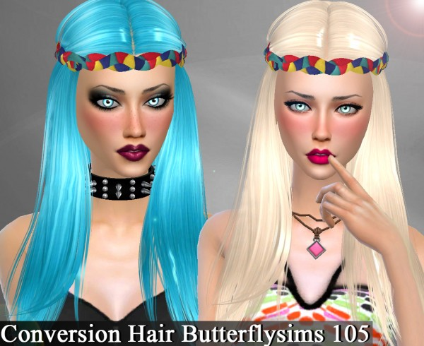 Genius6613: Butterfly`s 105 hair retextured for Sims 4