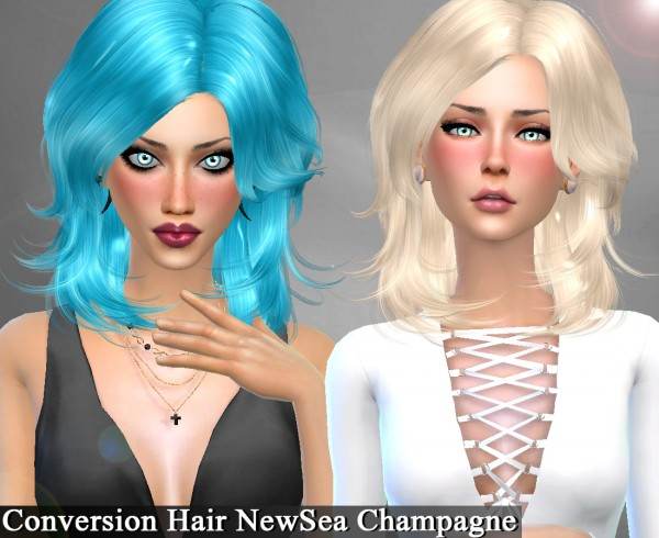 Genius6613: Newsea`s Champagne hair retextured for Sims 4