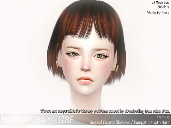 MAY Sims: May 178F hair retextured for Sims 4
