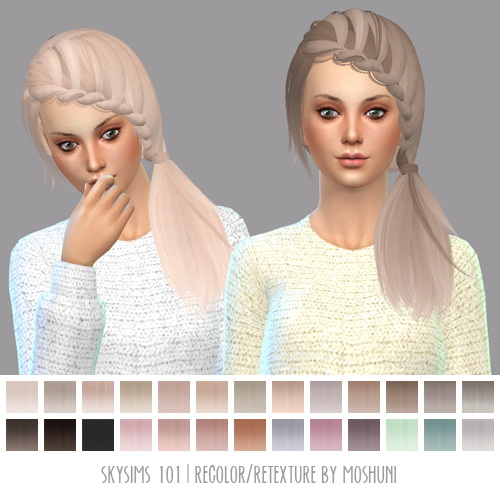 Moshuni: Skysims 101 hair retextured for Sims 4