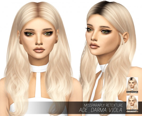 Miss Paraply: Ade Darma Viola hair retextured for Sims 4