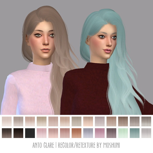 Moshuni: Anto`s Glare hair retextured for Sims 4