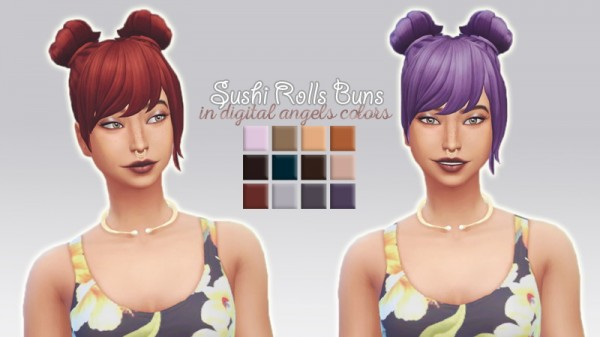Whoohoosimblr: Sushi Rolls Buns hair recolored for Sims 4