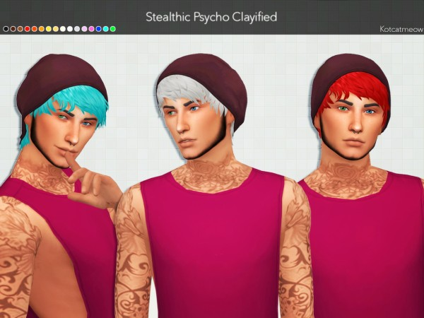 Kot Cat: Stealthic`s Psycho Hair Clayified for Sims 4