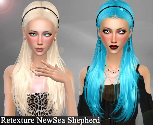 Genius6613: Newsea`s Ivory Tower and Shepherd  hairs retextured for Sims 4