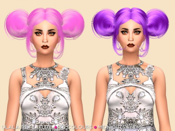 Simsworkshop: Ulala Unnatural colors   hair retextured by midnightskysims for Sims 4
