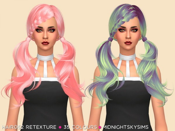 Simsworkshop: Hair 052 Unnatural colors hair retextured by midnightskysims for Sims 4