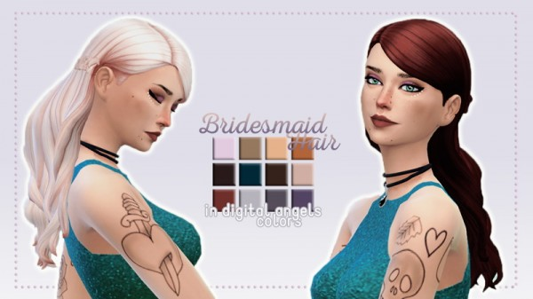Whoohoosimblr: Bridesmaid Hair recolored for Sims 4