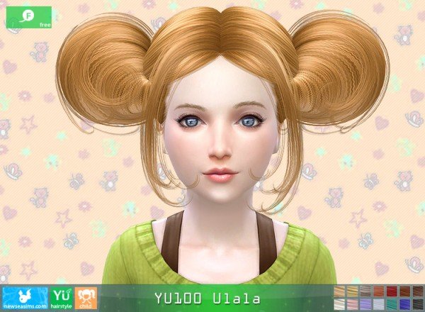 NewSea: YU100 Ulala hair for girls for Sims 4