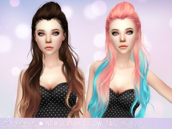 Aveira Sims 4: Newsea Swallow Tail hair retextured for Sims 4