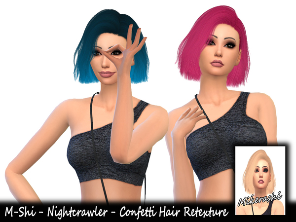 The Sims Resource: Nightcrawler`s Confetti Hair Retextured by mikerashi for Sims 4