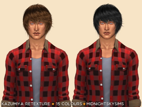 Simsworkshop: Kazumiya natural hair retextured by midnightskysims for Sims 4