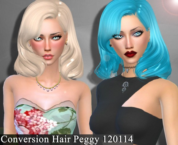 Genius6613: Peggy`s 120114 hair converted for Sims 4