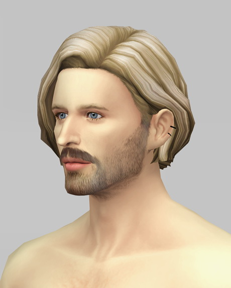 Rusty Nail: Male Medium wavy hair retextured   ombre for Sims 4