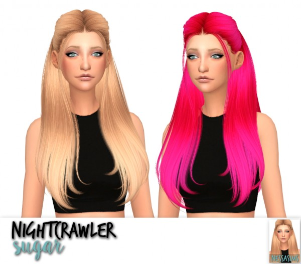 Nessa sims: Nightcrawler`s Antoinette, Rush, Silver and Sugar hair retextured for Sims 4