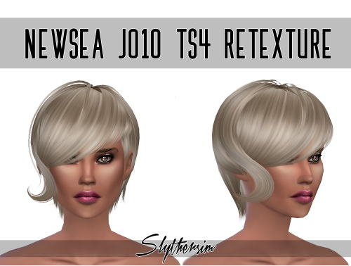 Slythersim: Newsea`s J010 hair retextured for Sims 4