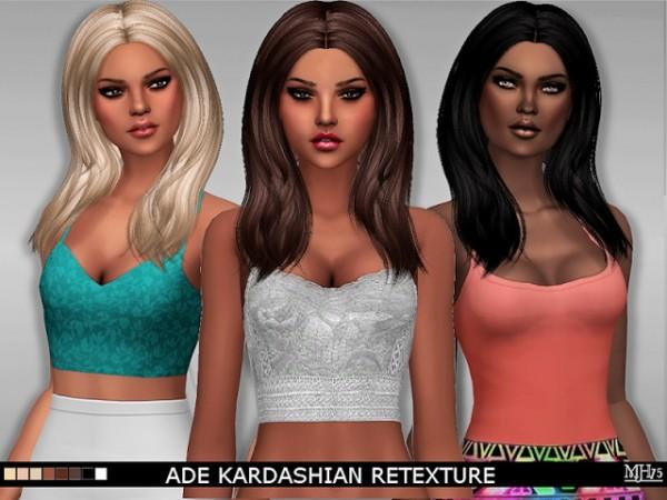 Sims Addiction: Ade Darma`s Kardashian hair retextured by Margie Sims for Sims 4