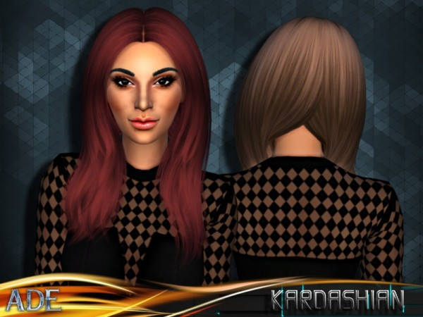 The Sims Resource: Kardashian hair by Ade Darma for Sims 4