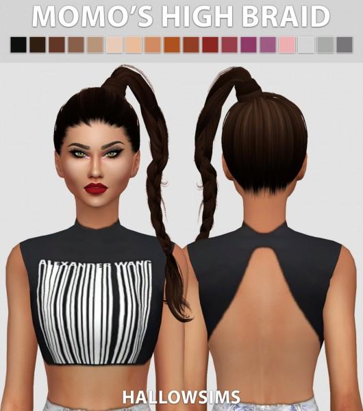 Hallow Sims: Momo's High Braid retextured for Sims 4