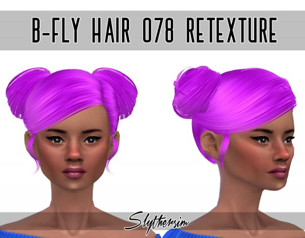 Slythersim: Butterfly`s 078  hair retextured for Sims 4