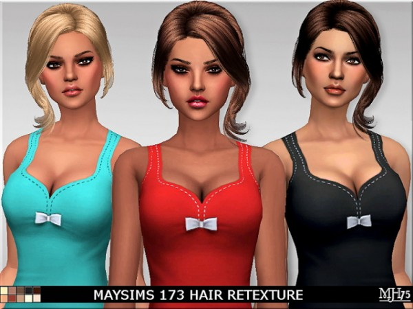Sims Addiction: Maysims 173 Hair Retextured by Margies Sims for Sims 4