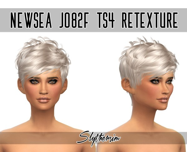 Slythersim: Newsea`s J082f hair retextured for Sims 4