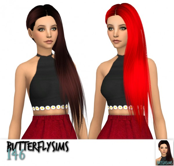 Nessa sims: Butterfly`s 146,147 and 174 hairs retextured for Sims 4