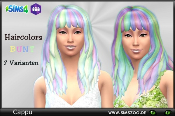 Blackys Sims 4 Zoo: Hair Color Bunt by Cappu for Sims 4